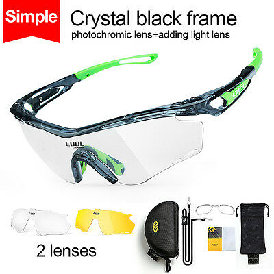 Photochromic Bicycle Sunglasses Sports Goggles Eyewear Cycling Glasses 2 Lens