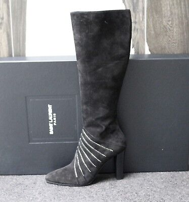 508df985c85 NIB YSL Saint Laurent LILY Black Suede Crystals Knee High Tall Boots Shoes  38