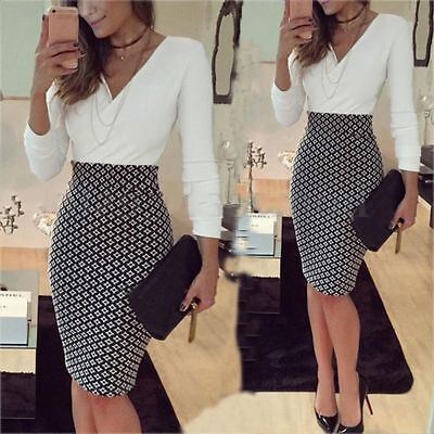 Women Dress OL Formal Business Work Stretch Party Cocktail Slim Pencil Dress HW