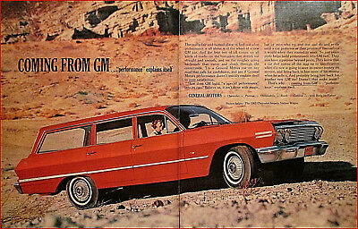 1963 Chevy Impala Station Wagon 2 Page Vintage Car Art Print Ad