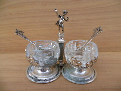 Vintage Old Small Size Serving Cruet Pot Set On Stand (G263)