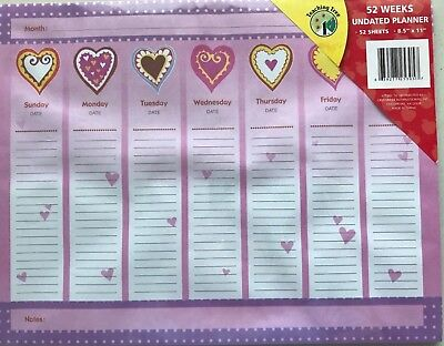 "Home School Planner Organizer 52 Weekly Schedule Sheets Undated 8.5"" X 11"" New"