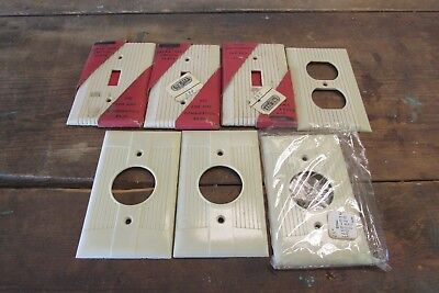 Art Deco Bakelite Switch Plate Cover Electric Vintage Ivory Design Lot of 7