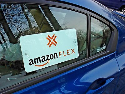 "3 AMAZON FLEX  CAR VEHICLE WINDOW SIGNS   6"" x 12"" with Suction Cups FREE SHIP"