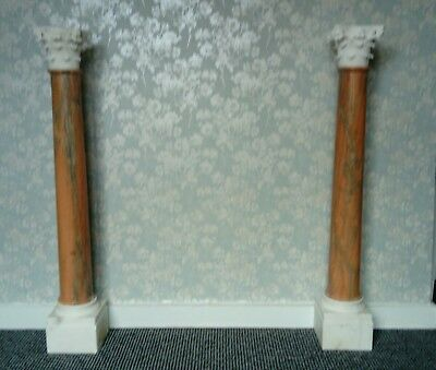 Pair of real pink marble pedestals