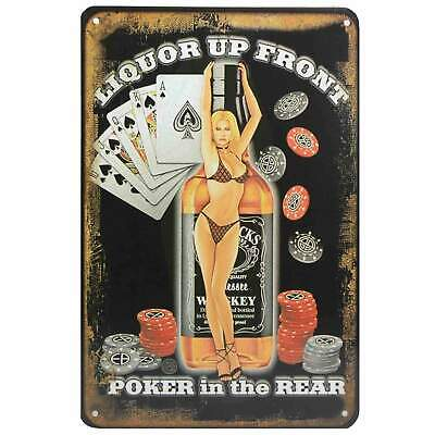 Liquor Poker Retro Metal Tin Sign Pub Homewares Bar Decor Kitsch Pin Up