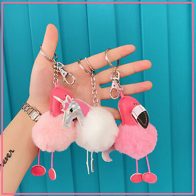 Keyring Handbag Flamingo Unicorn Fur Bag Charm Pendant Girl Keychain Gift Decor