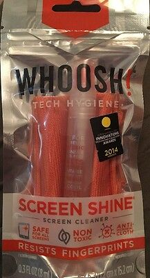 WHOOSH! 8ml Shine Natural Tech/gadget  Screen Cleaner with Microfibre Cloth