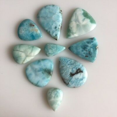 206 Ct 9Pc Natural Larimar Pear Cabochon Blue Lot Loose Gemstones Dominican