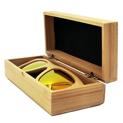 Rectangle Wood Grain Hard Eyewear/Sunglasses Storage Clamshell Case Box  ZZ