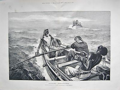 1880 Antique Print- Art-Sinking Despatches By W H Overend