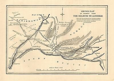 1880 Antique Print-Map-Sketch Plan Of Country From Helmund To Candahar