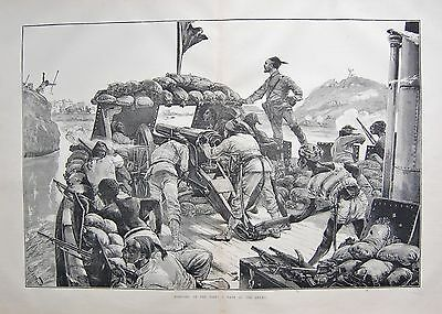 1884 Antique Print- Warfare On The Nile, A Dash At The Enemy