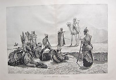 1884 Antique Print- The Sudan Expedition, A Reconnaissance, Camels