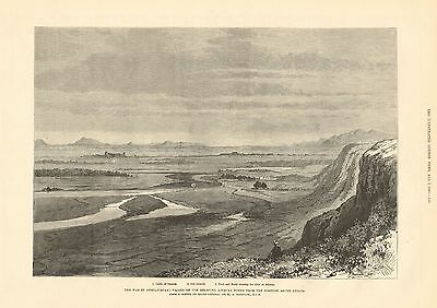 1880 Antique Print-Afghan War- Valley Of Helmund From Above Abbaza