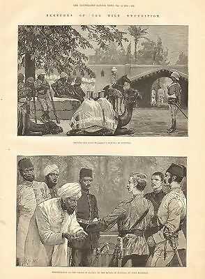 1884 Antique Print-Nile Expedition-Lord Wolseley At Dongola