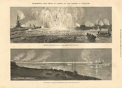 1880 Antique Print-Experimental Naval Attack,2 Images