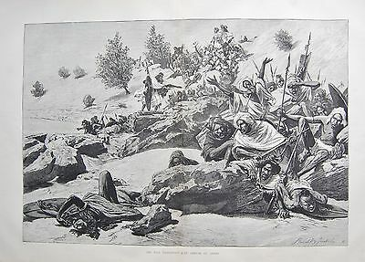1884 Antique Print- Nile Expedition-An Ambush Of Arabs