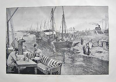 1884 Antique Print- Nile Expedition-A Sketch At Wady Halfa