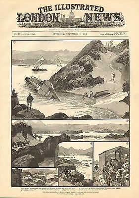 1884 Antique Print-Nile Expedition- Dangers And Difficulties On The River Passag