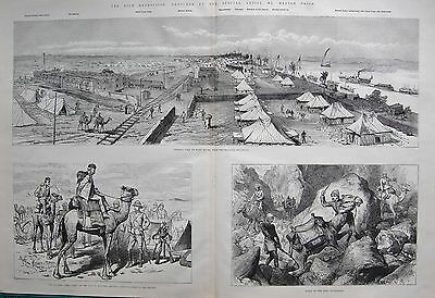 1884 Antique Print- Nile Expedition-View Of Wady Halfa,road To Donola