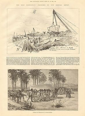 1884 Antique Print-Nile Expedition- Portage Of Whale Boats
