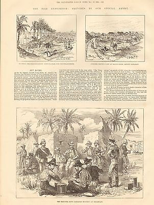 1884 Antique Print-Nile Expedition- The Manitoba Boys(Canadian Boatmen) At Break