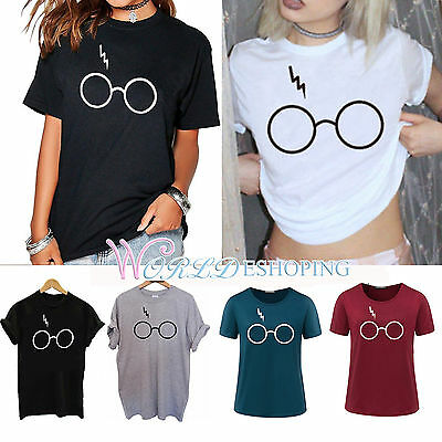 Lightning Glasses T-Shirt Scar Magic Harry Potter Casual Womens Blouse Tee Tops