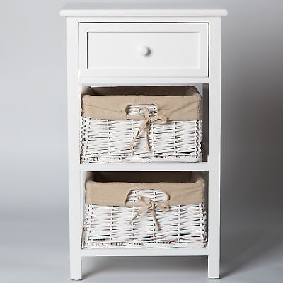 White Bedside Table with 2 Wicker Basket and Drawer Fully Assembled Cabinet Unit