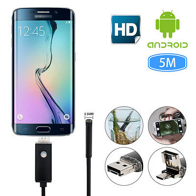 Endoscope 5.5mm LED Snake Inspection Camera Lens IP67 for Mobile Phone PC Laptop