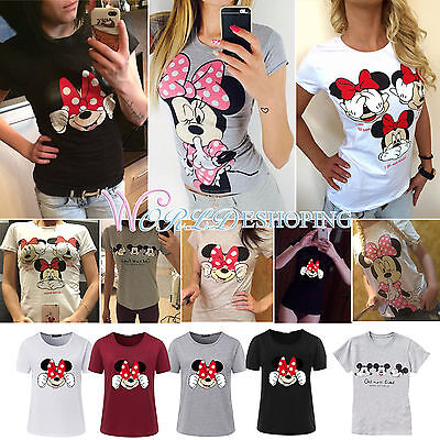 Womens Mickey Minnie Mouse T-Shirt Casual Summer Slim Fit Tee Shirt Tops Blouse