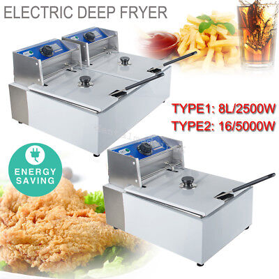 8L / 16L Electric Countertop Deep Fryer Commercial Basket French Fry Restaurant