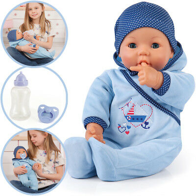 Bayer Design Baby-Puppe Hello Baby Boy mit Funktionen (Blau)