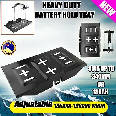 Car Battery Tray + Adjustable Hold Down Clamp Bracket Cycle Universal 135-190mm