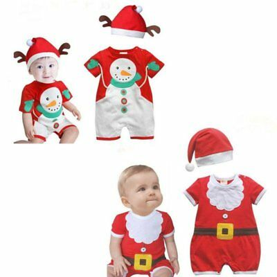Baby Toddler Boy Girl Christmas Santa Hat+Romper Jumpsuit Set Outfit Clothes