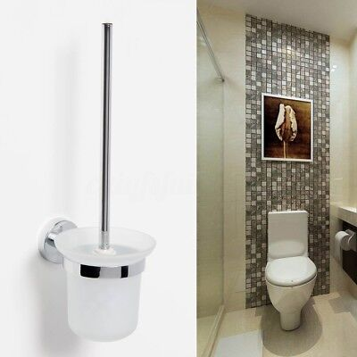 Chrome Wall Mounted Toilet Cleaning Brush & Frosted Holder Standing Bathroom