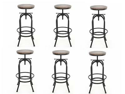6pcs Retro Industrial Vintage Metal Kitchen Pub Bar Stool Wooden Seat Chair S0E4