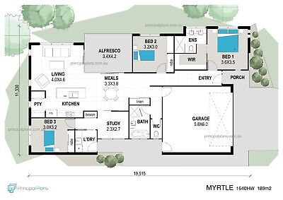 3 Bedroom HOUSE PLAN - The MYRTLE 189m2