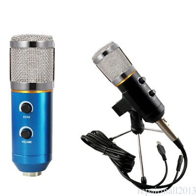 MK-F200TL Wired Condenser Microphone Dynamic USB Vocal Audio Mic w/ Mount Stand