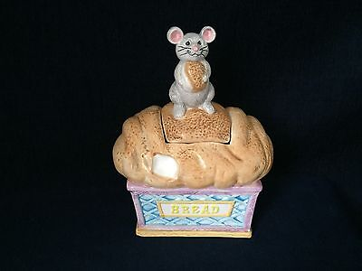 Ceramic Cookie Jar Bread Loaf With Mouse