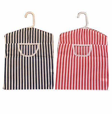 Peg Bag Striped Fabric Clothes Line Hanger Laundry Bucket Basket Pegbag
