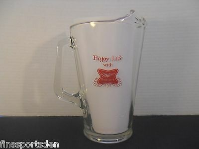 "Vintage MILLER HIGH LIFE Glass Advertising Beer Pitcher ""Enjoy Life With"""