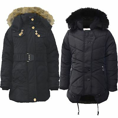 Kids Padded Coat Girls Quilted Winter Jacket Zip Detach Hood Fur Lining 5-13 Y