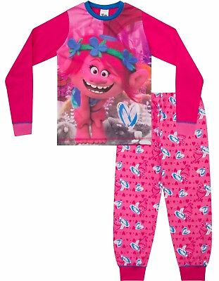 Girls Trolls Movie Pyjamas POPPY Dreamworks Long Pyjama Set PJ 6 to 12 Years