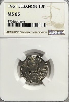 1961 MS65 Lebanon 10 Piastres NGC UNC Single Year Coin only 3 graded higher
