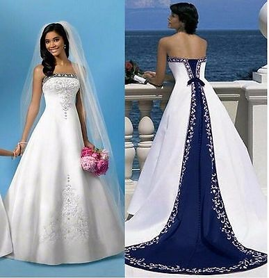 white and royal blue Embroidery Wedding Dress Bridal Gown Custom Size 2-20+