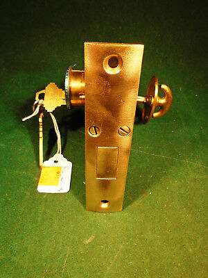 "VINTAGE CORBIN DEADBOLT MORTISE LOCK w/ CYLINDER & KEYS 4 9/16"" FACEPLATE (9307)"