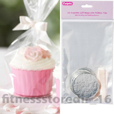 Culpitt 12 Clear Cupcake Gift Bags with Ribbon Ties & Round Cake Boards Cupcakes