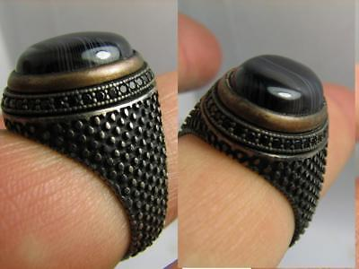MASSIVE VINTAGE STERLING SILVER RING with STONE BLACK ONYX !100% WEARABLE! #6523