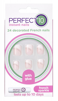 Perfect10 Decorated French Sparkle Faux Ongles 24 Pièces